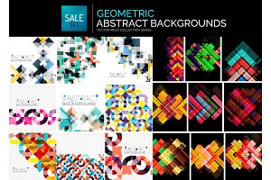 Collection of geometric abstract backgrounds, minimal design