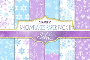 Watercolor Snowflakes Pattern II