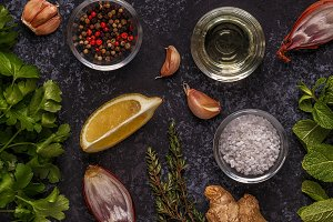 Background with spices, herbs