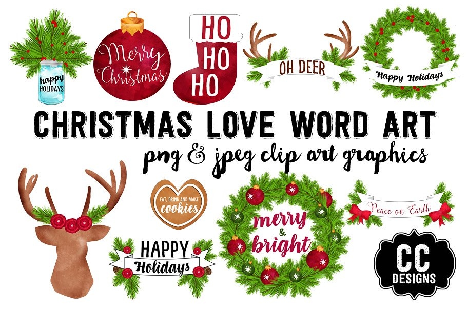 Christmas Watercolor Word Art Text Illustrations