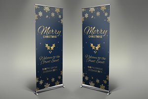 Merry Christmas Roll Up Banner