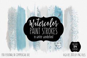 Winter Blue Watercolor Brush Strokes