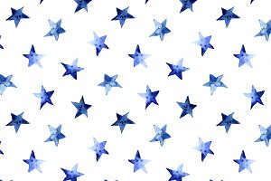 Watercolor stars pattern
