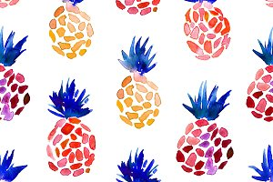 Watercolor pineapples pattern