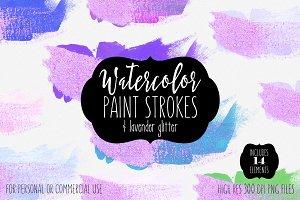 Lavender Glitter Brush Strokes