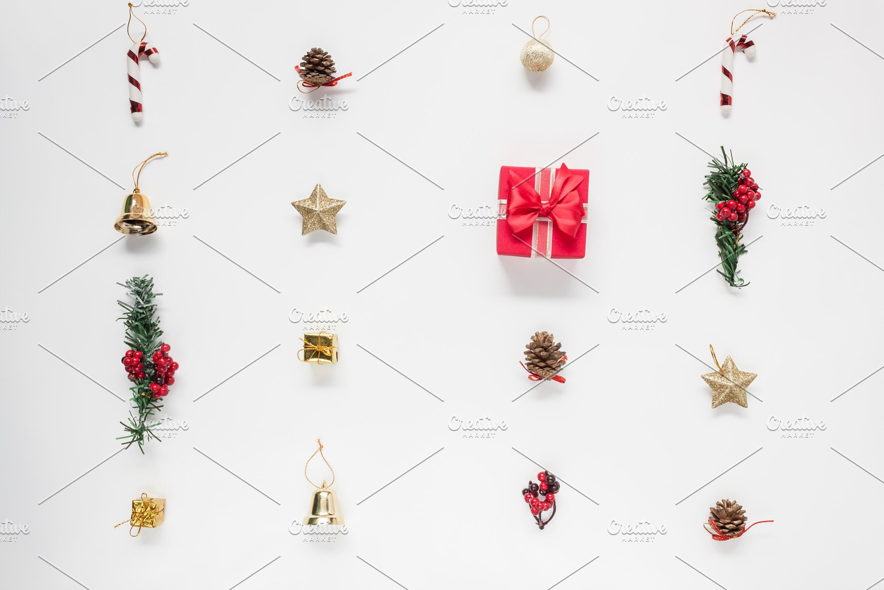Essential Christmas Decorations.Top View Christmas Decoration