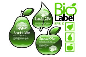 Shiny green gloss eco labels