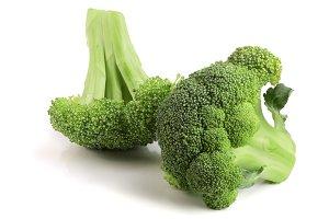 fresh broccoli isolated on white background close-up