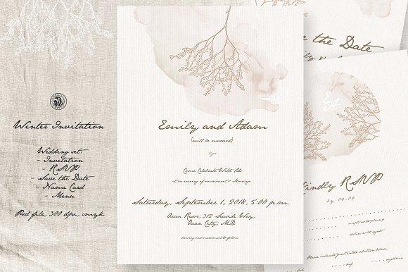 winter wedding invitation invitation templates creative market