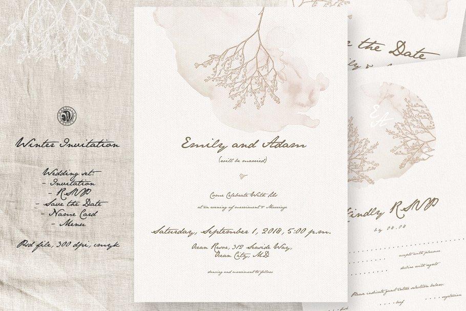 Winter Wedding Invitation Wedding Templates Creative Market