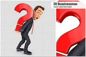 3D Businessman Carrying Question