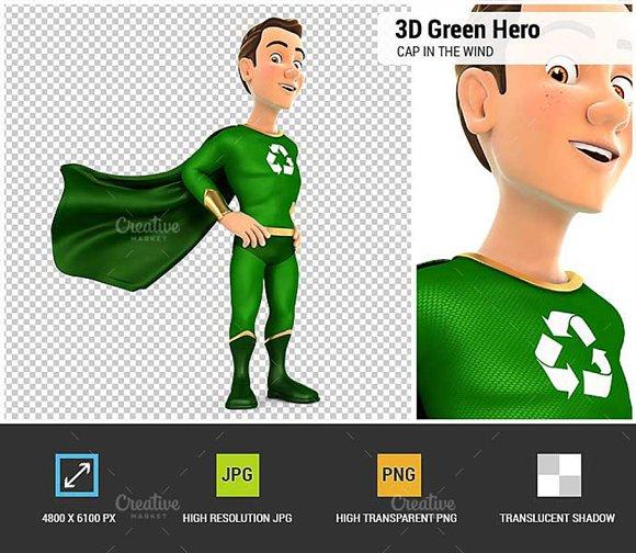 3D Green Hero Standing