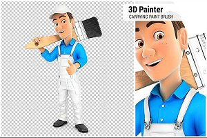3D Painter Carrying Paint Brush