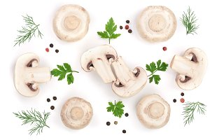 mushrooms with parsley leaf dill and peppercorns isolated on white background. top view