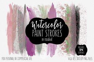 Watercolor Brush Strokes Rosebud