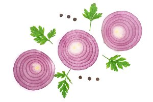 Sliced red onion rings with parsley leaves and peppercorns isolated on white background. Top view