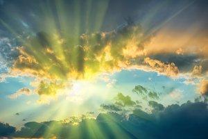 Beautiful blue sky with sun