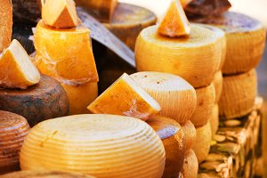 Italian cheeses on the market