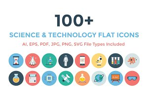 100+ Science & Technology Flat Icons