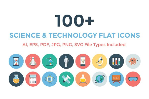 100+ Science & Technology Flat Icon…