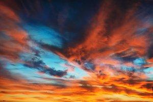 Sunset on dramatic sky