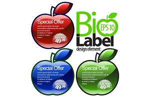 Shiny red, blue, green gloss labels