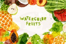 14 fresh fruits of colorful spots