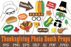 Thanksgiving Photo Booth Props - SVG