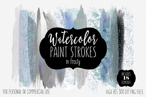 Frosty Watercolor Paint Strokes