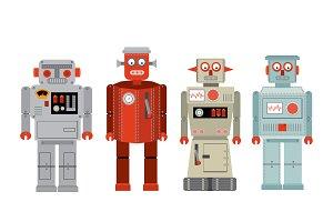retro robots vector