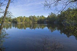 Small forest lake in Karelia, Russia