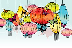 colorful lanterns vector