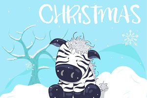 Little cute Christmas Zebra