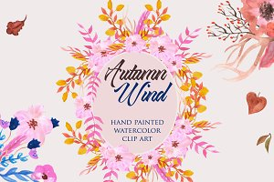 Autumn Watercolor Flowers Clip Art