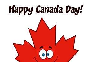 Happy Canadian Red Maple Leaf
