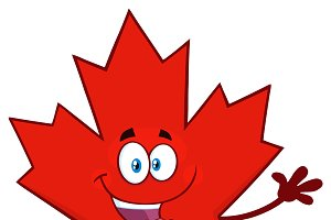 Red Maple Leaf Waving For Greeting
