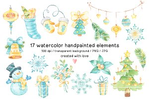 NEW YEAR watercolor clipart