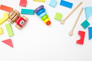 Wooden toys. Copy space