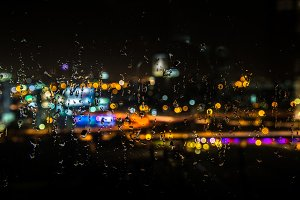 raindrops in the night window