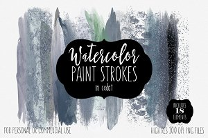 Navy Blue Watercolor Brush Strokes