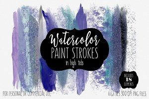 Ocean Blues Watercolor Brush Strokes
