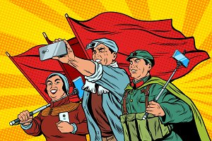 Chinese workers with smartphones selfie, poster socialist realis