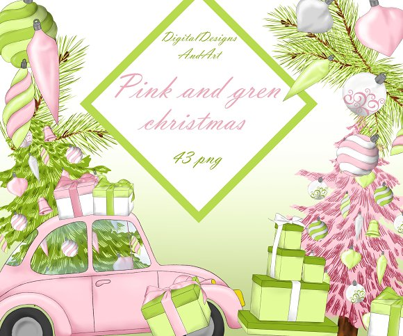Christmas in pink and green