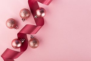 Ribbon and baubles in arrangement