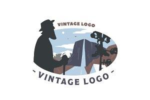Vintage logo Mountain landscape