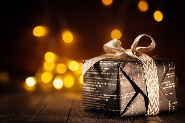Wrapped present on background of ga…