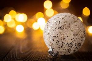 Decorative shiny bauble in lights