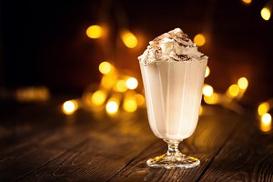 Sweet milkshake in Christmas composition