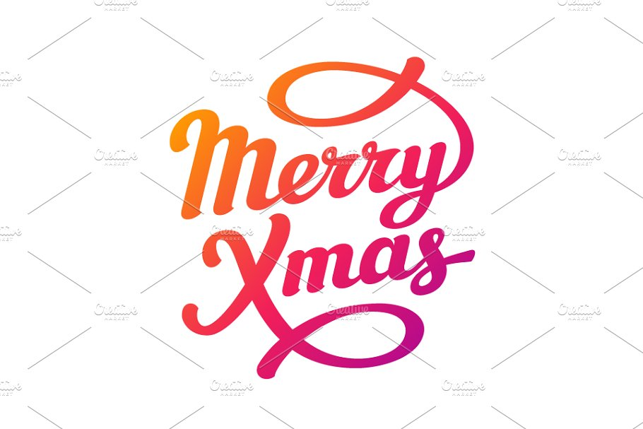 Christmas Lettering.Merry Christmas Lettering Card