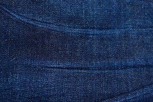 Wrinkled Blue Denim Background